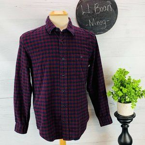 L L Bean Flannel Shirt Slightly Fitted Red Blue M
